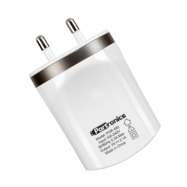 Portronics POR 482 Dual USB Charger (White) Dual USB ports with 5V-(2 x 1A) Both outputs if used will give 1A in both sockets. Elegant glossy Design Sutable for charging tablets,mobiles,GPS etc Overload and Short circuit protection Both output if used will give 1A in both sockets